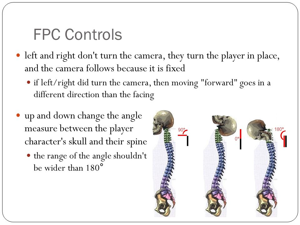 FPC Controls left and right don't turn the camera, they turn the player in place, and the camera follows because it is fixed if left/right did turn th