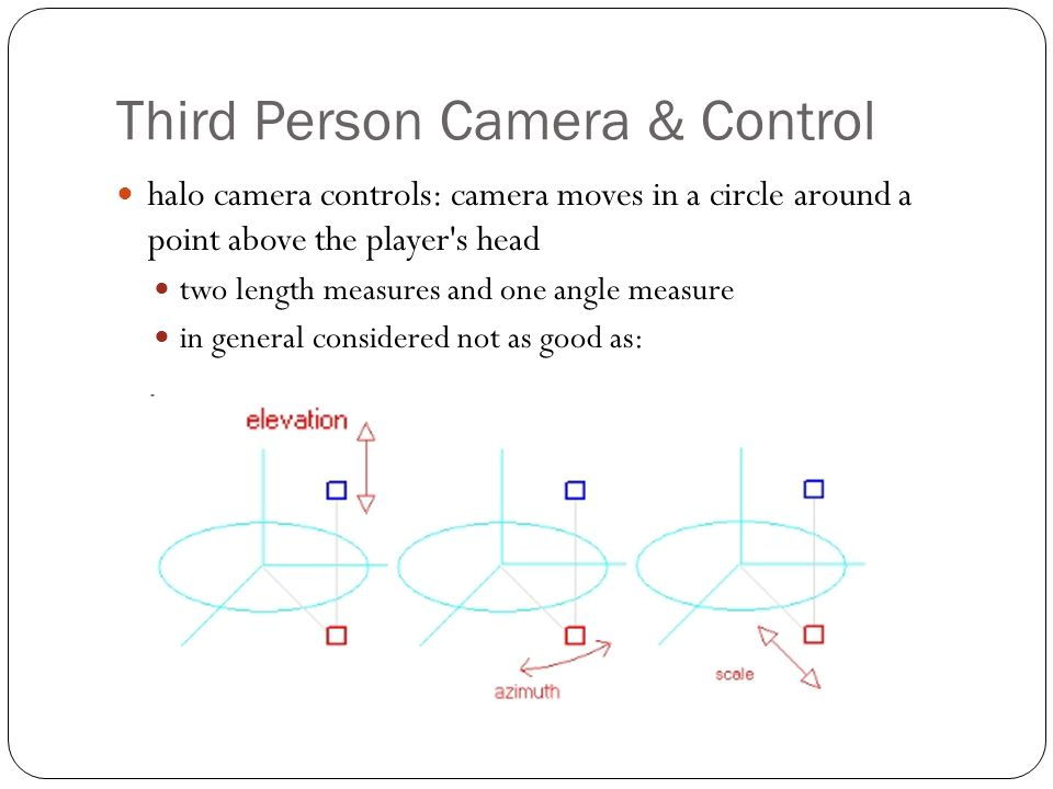 Third Person Camera & Control spherical camera controls: camera can be anywhere in space that s a fixed distance from the lookat point (hence the word sphere ) one length measure and two angle measures left/right move the camera s longitude around a circle of latitude , up/down change the latitude (ranges between +90° and -90°)
