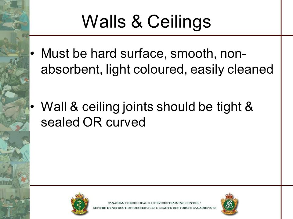 Walls & Ceilings Must be hard surface, smooth, non- absorbent, light coloured, easily cleaned Wall & ceiling joints should be tight & sealed OR curved
