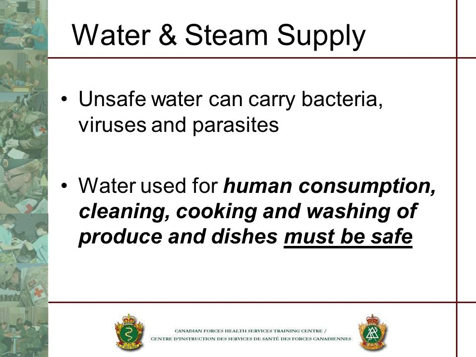 Water & Steam Supply Unsafe water can carry bacteria, viruses and parasites Water used for human consumption, cleaning, cooking and washing of produce and dishes must be safe