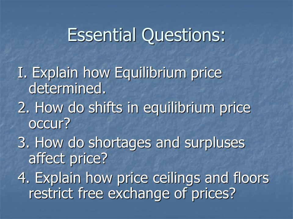 Essential Questions: I.Explain how Equilibrium price determined.