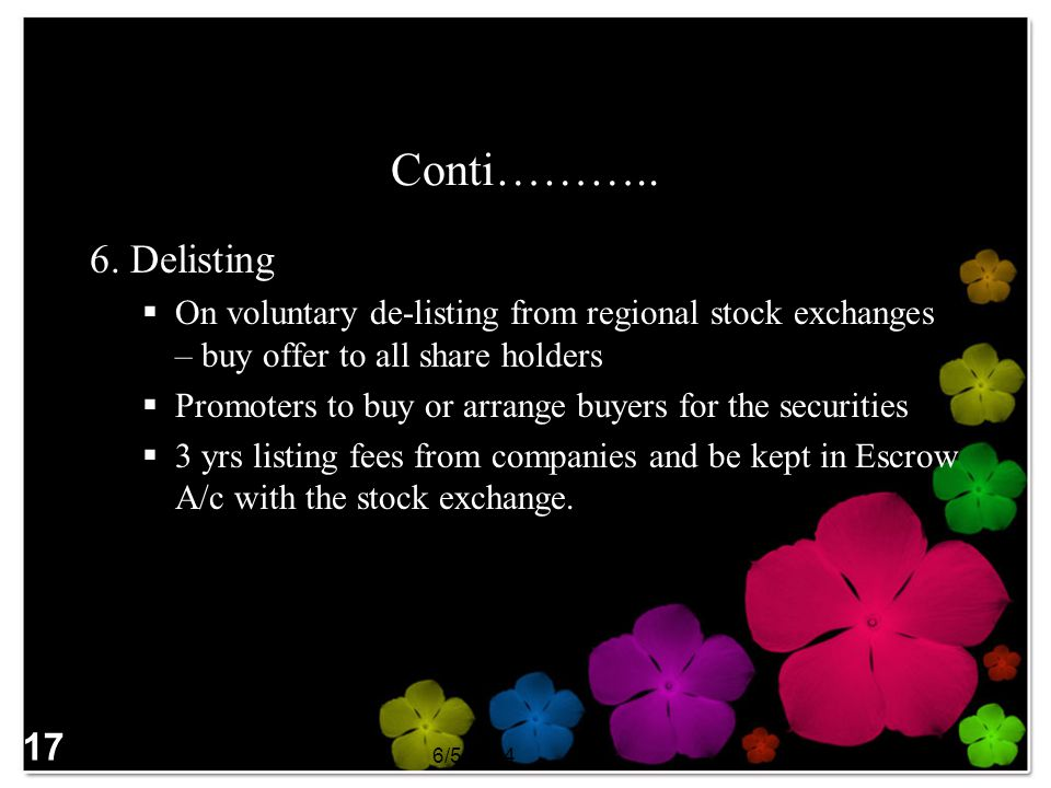 Conti……….. 6. Delisting On voluntary de-listing from regional stock exchanges – buy offer to all share holders Promoters to buy or arrange buyers for