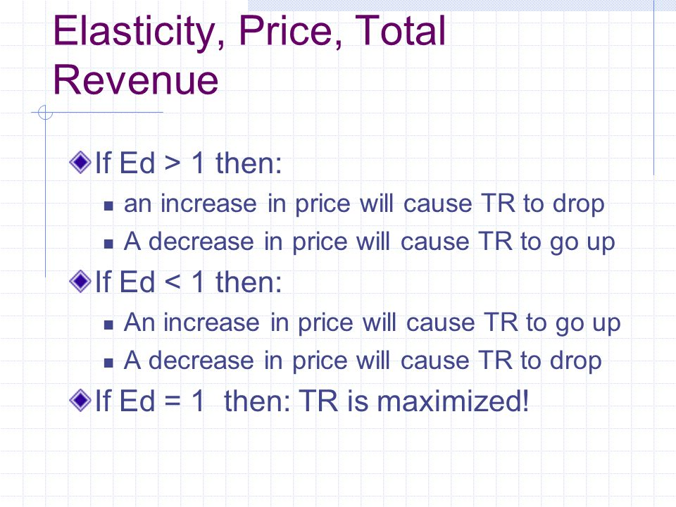 Elasticity, Price, Total Revenue If Ed > 1 then: an increase in price will cause TR to drop A decrease in price will cause TR to go up If Ed < 1 then: An increase in price will cause TR to go up A decrease in price will cause TR to drop If Ed = 1 then: TR is maximized!