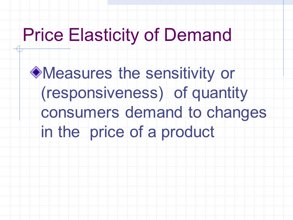 Equation for Coefficient of Elasticity of Demand % change in quantity ÷ % change in price The equation for determining the coefficient elasticity of demand is: [(Q1-Q2)÷(Q1+Q2)]÷[(P1-P2)÷(P1+P2)]