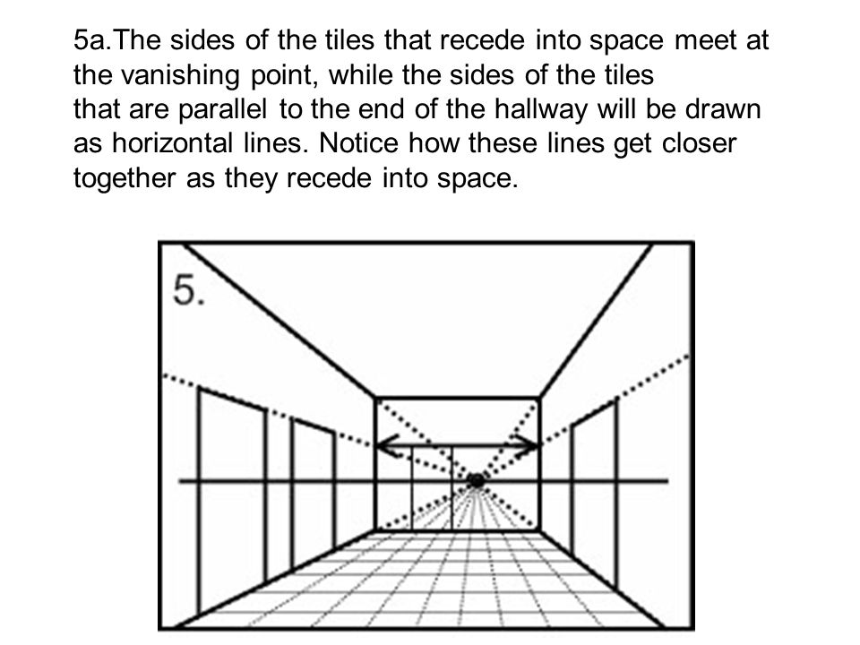 5a.The sides of the tiles that recede into space meet at the vanishing point, while the sides of the tiles that are parallel to the end of the hallway