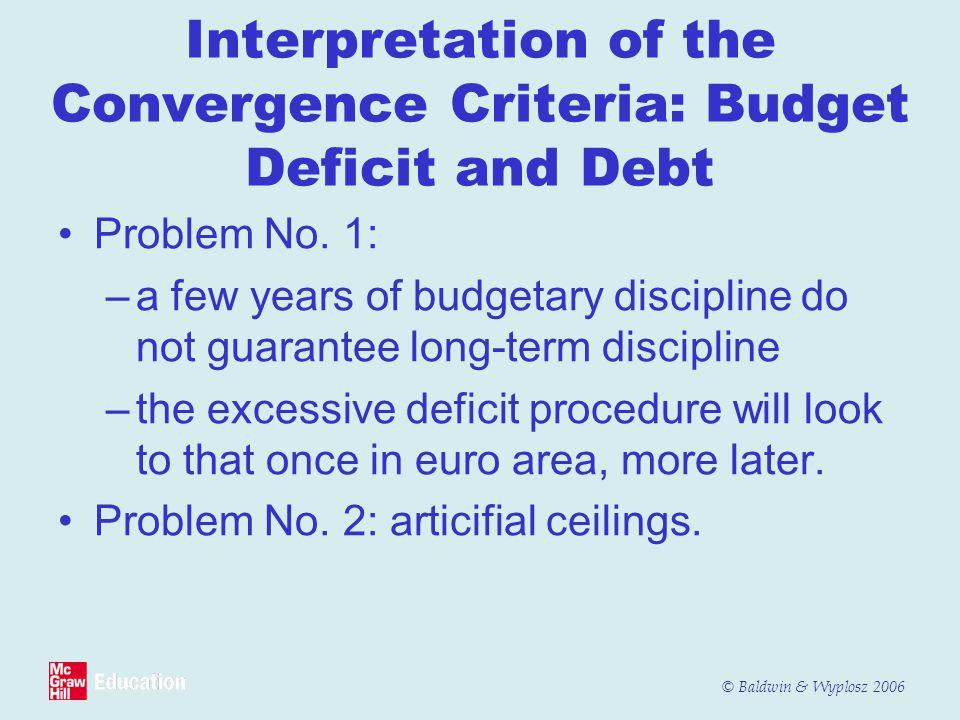 © Baldwin & Wyplosz 2006 Interpretation of the Convergence Criteria: Budget Deficit and Debt Problem No. 1: –a few years of budgetary discipline do no