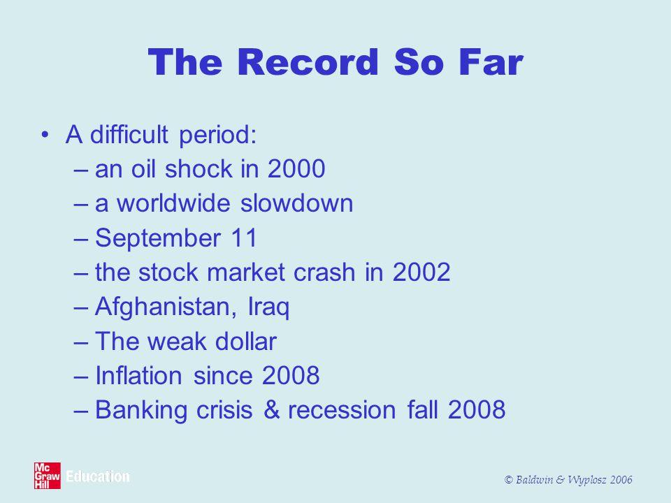 © Baldwin & Wyplosz 2006 The Record So Far A difficult period: –an oil shock in 2000 –a worldwide slowdown –September 11 –the stock market crash in 20