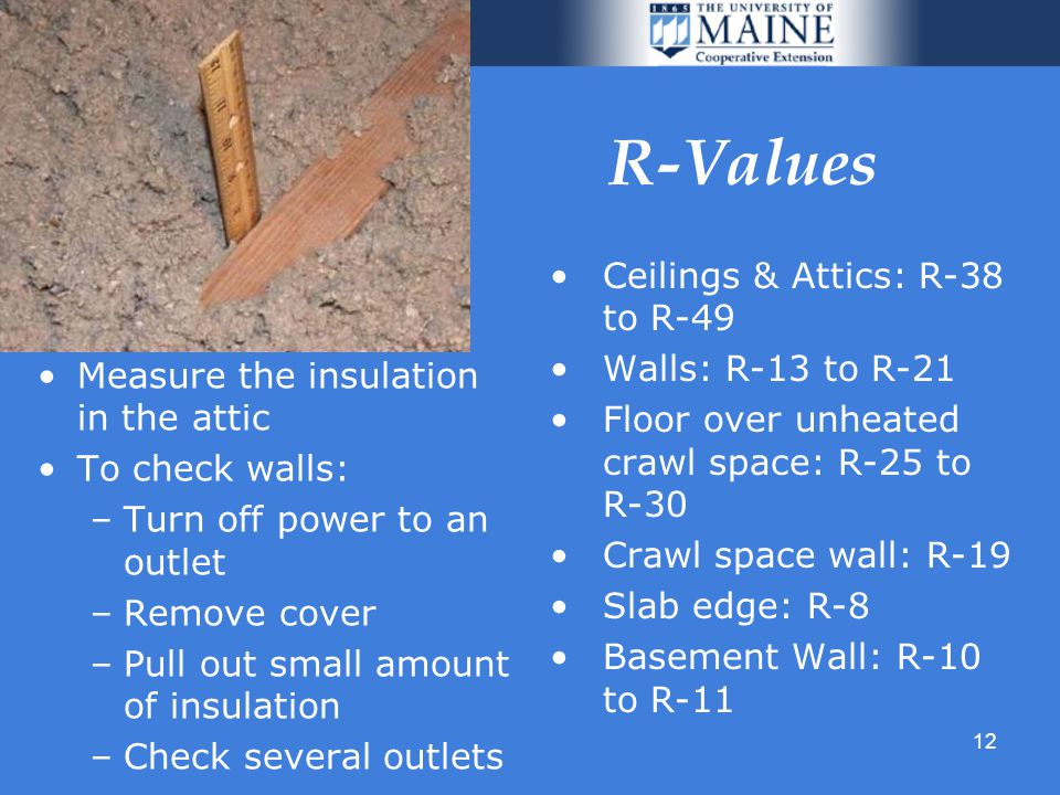 12 R-Values Measure the insulation in the attic To check walls: –Turn off power to an outlet –Remove cover –Pull out small amount of insulation –Check several outlets Ceilings & Attics: R-38 to R-49 Walls: R-13 to R-21 Floor over unheated crawl space: R-25 to R-30 Crawl space wall: R-19 Slab edge: R-8 Basement Wall: R-10 to R-11