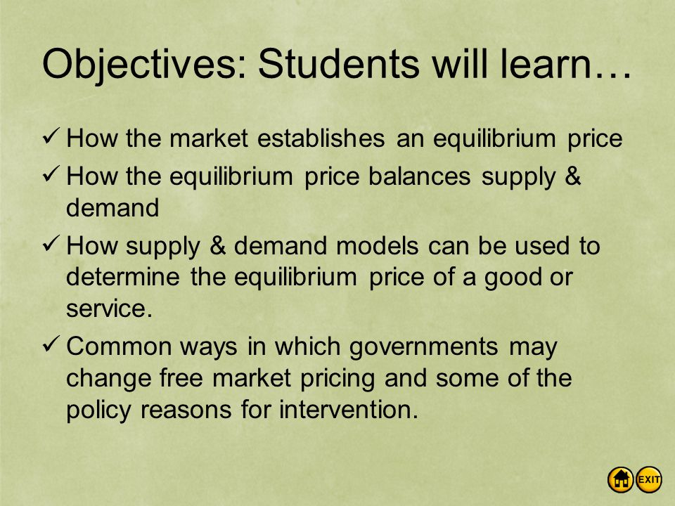 Objectives: Students will learn… How the market establishes an equilibrium price How the equilibrium price balances supply & demand How supply & demand models can be used to determine the equilibrium price of a good or service.