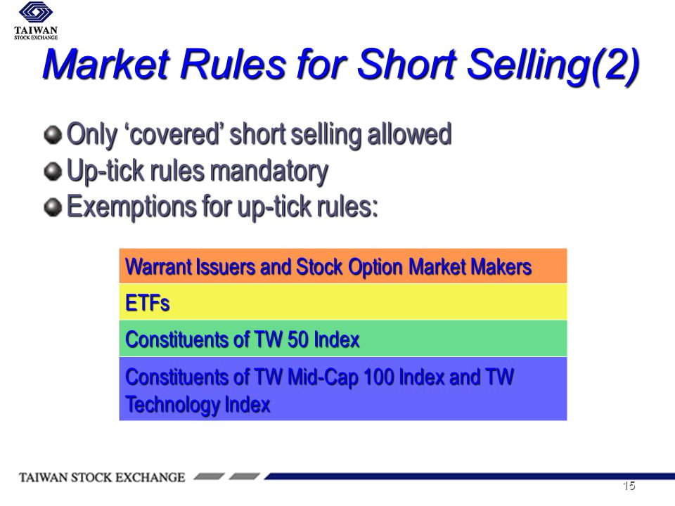 15 Market Rules for Short Selling(2) Only covered short selling allowed Up-tick rules mandatory Exemptions for up-tick rules: Warrant Issuers and Stock Option Market Makers ETFs Constituents of TW 50 Index Constituents of TW Mid-Cap 100 Index and TW Technology Index