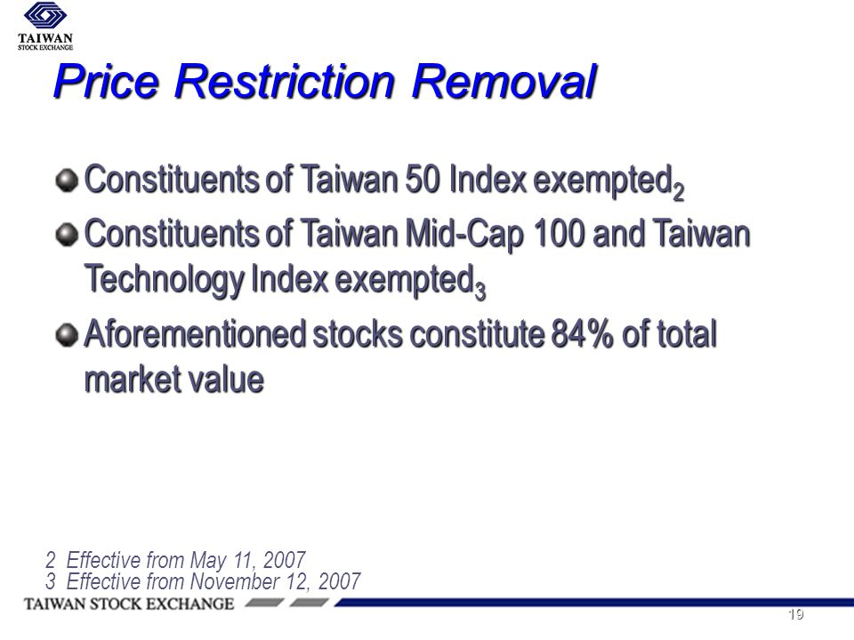 19 Price Restriction Removal Constituents of Taiwan 50 Index exempted 2 Constituents of Taiwan Mid-Cap 100 and Taiwan Technology Index exempted 3 Aforementioned stocks constitute 84% of total market value 3 Effective from November 12, 2007 2 Effective from May 11, 2007
