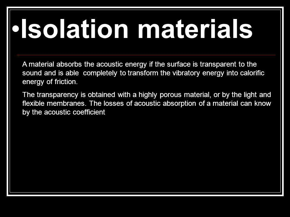 A material absorbs the acoustic energy if the surface is transparent to the sound and is able completely to transform the vibratory energy into calorific energy of friction.