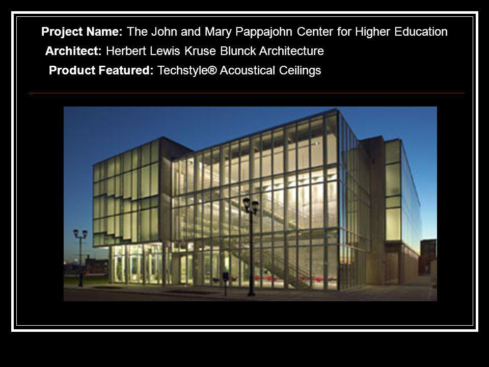 Project Name: The John and Mary Pappajohn Center for Higher Education Architect: Herbert Lewis Kruse Blunck Architecture Product Featured: Techstyle® Acoustical Ceilings