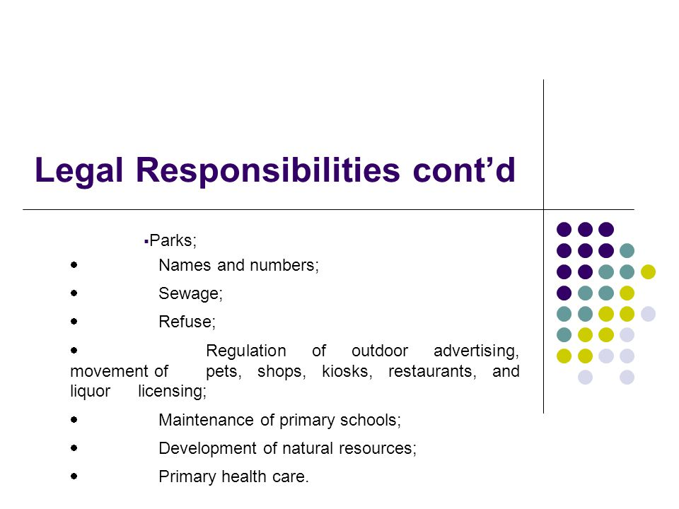 Legal Responsibilities contd Parks; Names and numbers; Sewage; Refuse; Regulation of outdoor advertising, movement of pets, shops, kiosks, restaurants