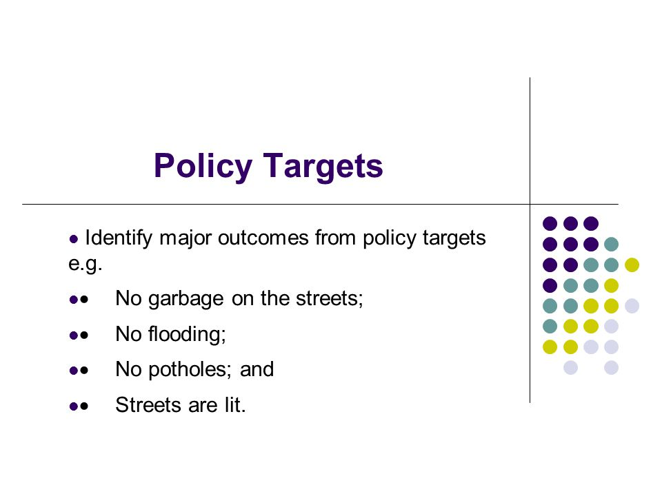 Policy Targets Identify major outcomes from policy targets e.g. No garbage on the streets; No flooding; No potholes; and Streets are lit.