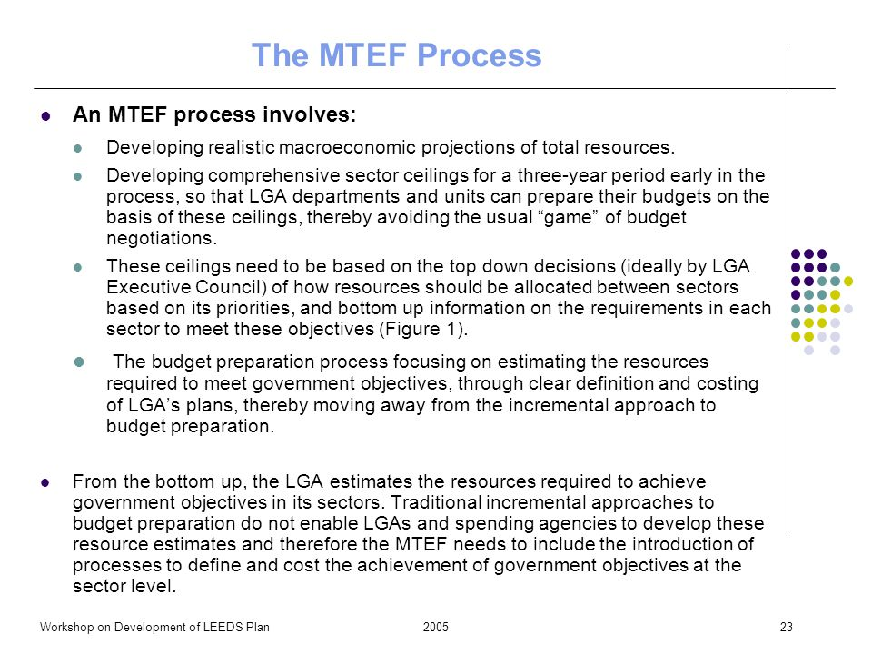 2005Workshop on Development of LEEDS Plan23 The MTEF Process An MTEF process involves: Developing realistic macroeconomic projections of total resourc