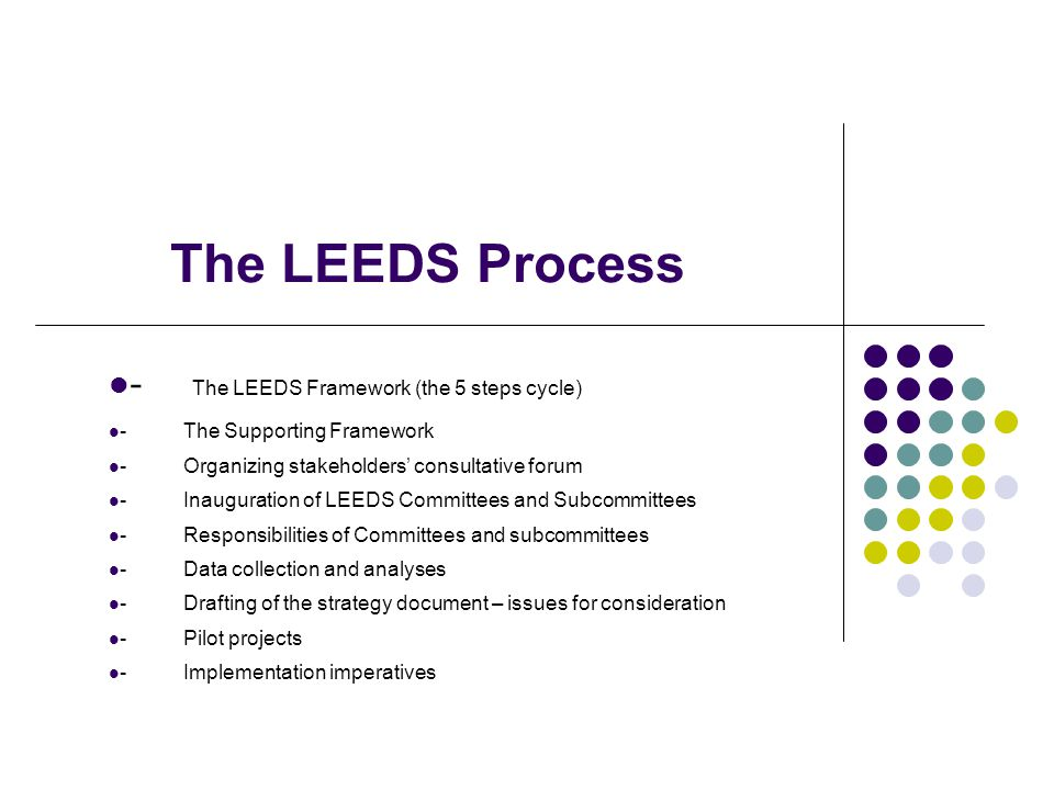 The LEEDS Process - The LEEDS Framework (the 5 steps cycle) - The Supporting Framework - Organizing stakeholders consultative forum - Inauguration of