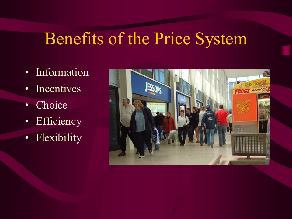 Benefits of the Price System Information Incentives Choice Efficiency Flexibility