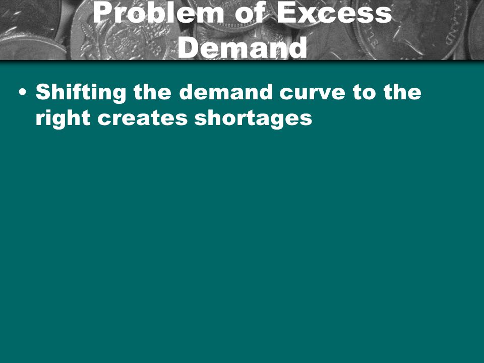 Problem of Excess Demand Shifting the demand curve to the right creates shortages