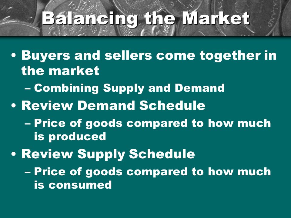 Balancing the Market Buyers and sellers come together in the market –Combining Supply and Demand Review Demand Schedule –Price of goods compared to ho
