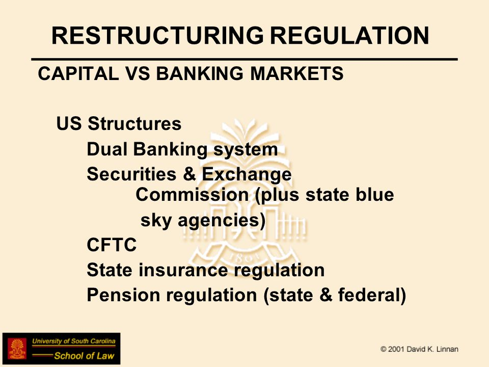 US BANKING REG HISTORY HOW WE GOT HERE National Bank Act of 1864 Pre-existing state banks (free banking tradition since 1838, meaning not a specific charter as business license), so created dual banking system and defined business of banking as to this day deposit-taking & extension of credit