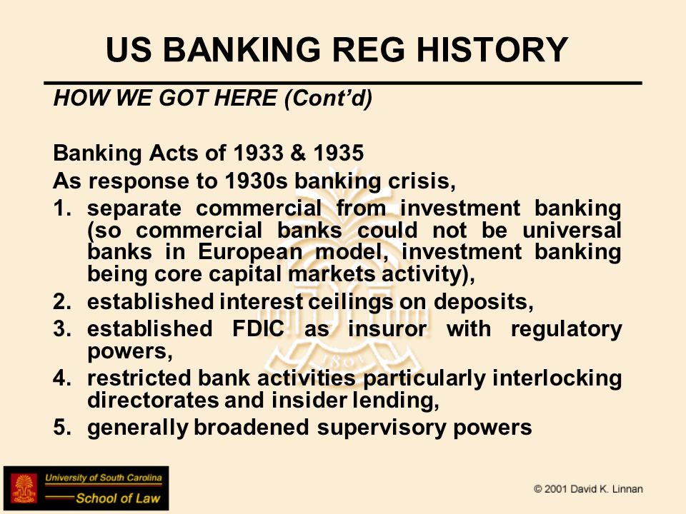US BANKING REG HISTORY HOW WE GOT HERE (Contd) Federal Home Loan Bank Act of 1932 and Federal Credit Union Act of 1934 Established parallel institutions with special housing & mutual markets covered also by insurance, with own parallel regulatory structure