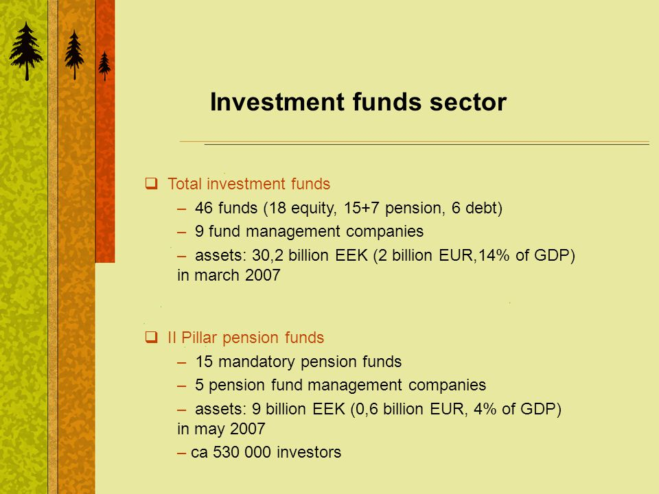 Investment funds sector Total investment funds – 46 funds (18 equity, 15+7 pension, 6 debt) – 9 fund management companies – assets: 30,2 billion EEK (