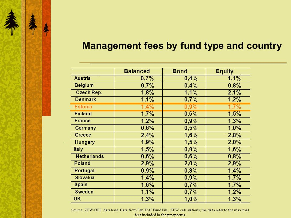 Management fees by fund type and country Source: ZEW/OEE database.