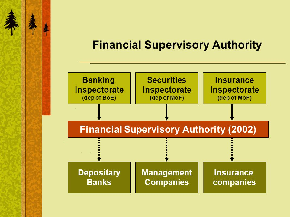 Financial Supervisory Authority Financial Supervisory Authority (2002) Banking Inspectorate (dep of BoE) Securities Inspectorate (dep of MoF) Insurance Inspectorate (dep of MoF) Depositary Banks Management Companies Insurance companies