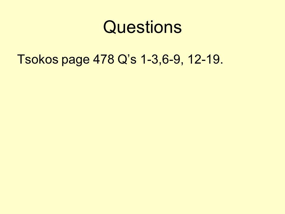 Questions Tsokos page 478 Qs 1-3,6-9, 12-19.