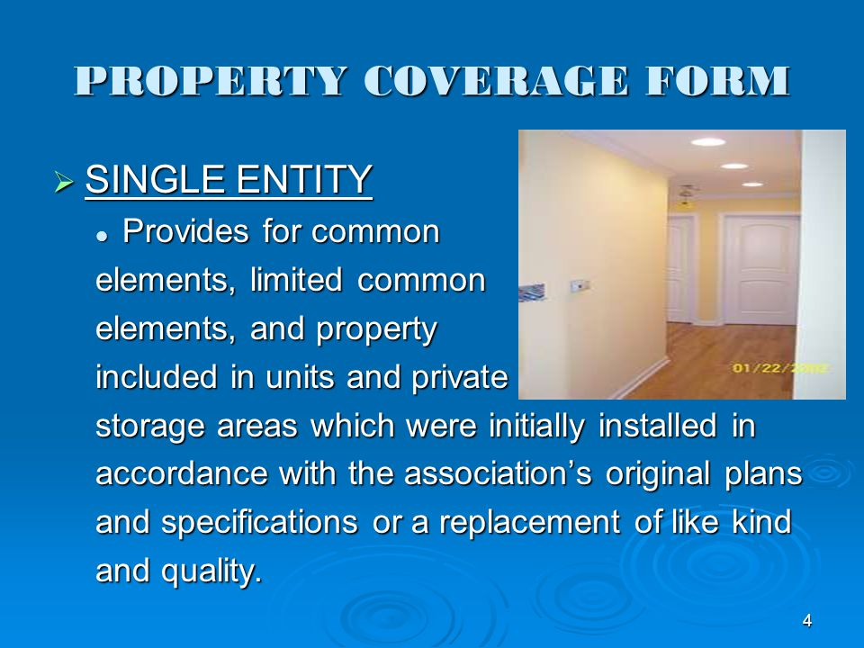 PROPERTY COVERAGE FORM SINGLE ENTITY SINGLE ENTITY Provides for common Provides for common elements, limited common elements, and property included in