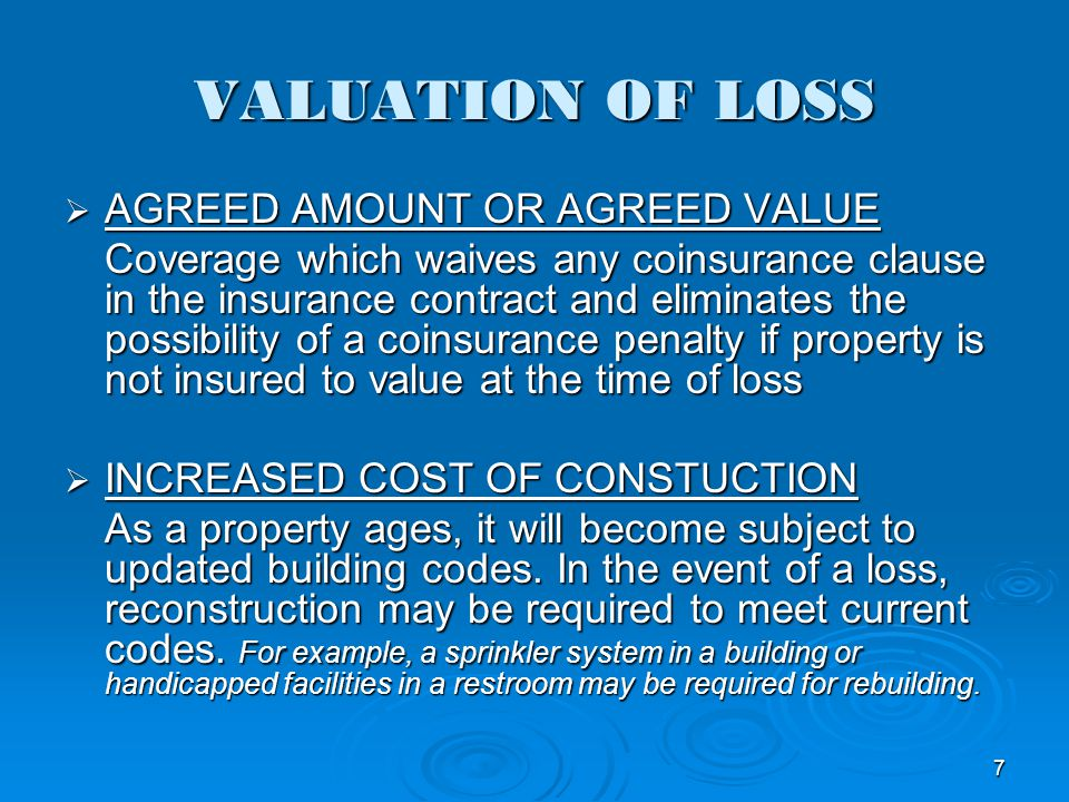 VALUATION OF LOSS AGREED AMOUNT OR AGREED VALUE AGREED AMOUNT OR AGREED VALUE Coverage which waives any coinsurance clause in the insurance contract a