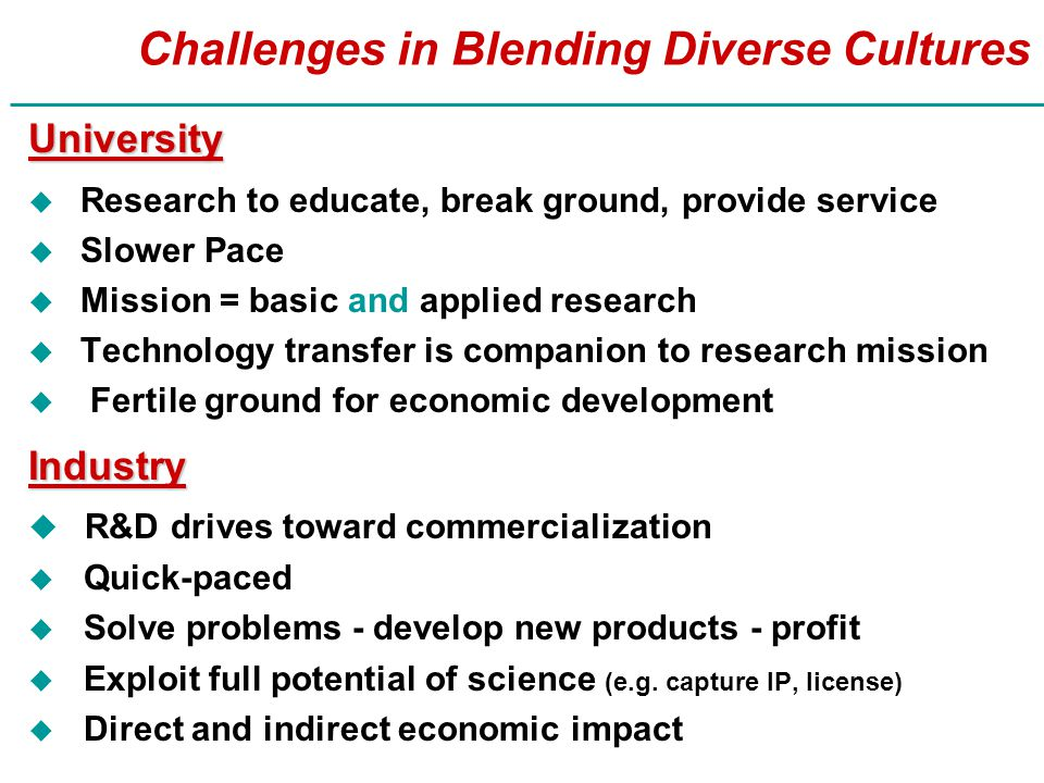 Challenges in Blending Diverse Cultures University u Research to educate, break ground, provide service u Slower Pace u Mission = basic and applied research u Technology transfer is companion to research mission u Fertile ground for economic development Industry u R&D drives toward commercialization u Quick-paced u Solve problems - develop new products - profit u Exploit full potential of science (e.g.