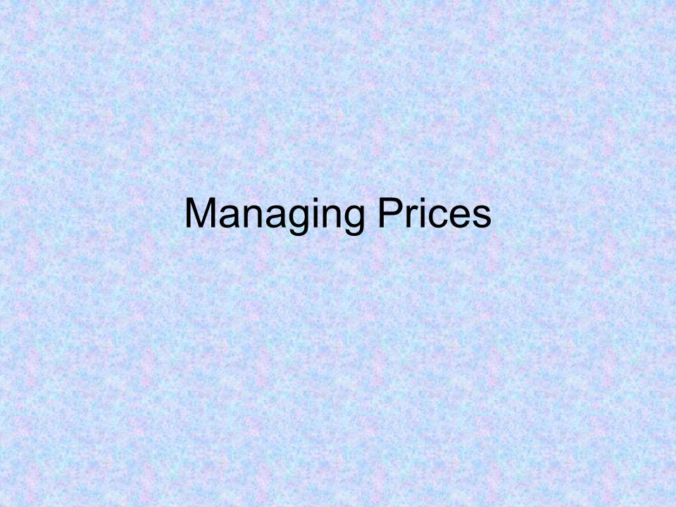 Managing Prices