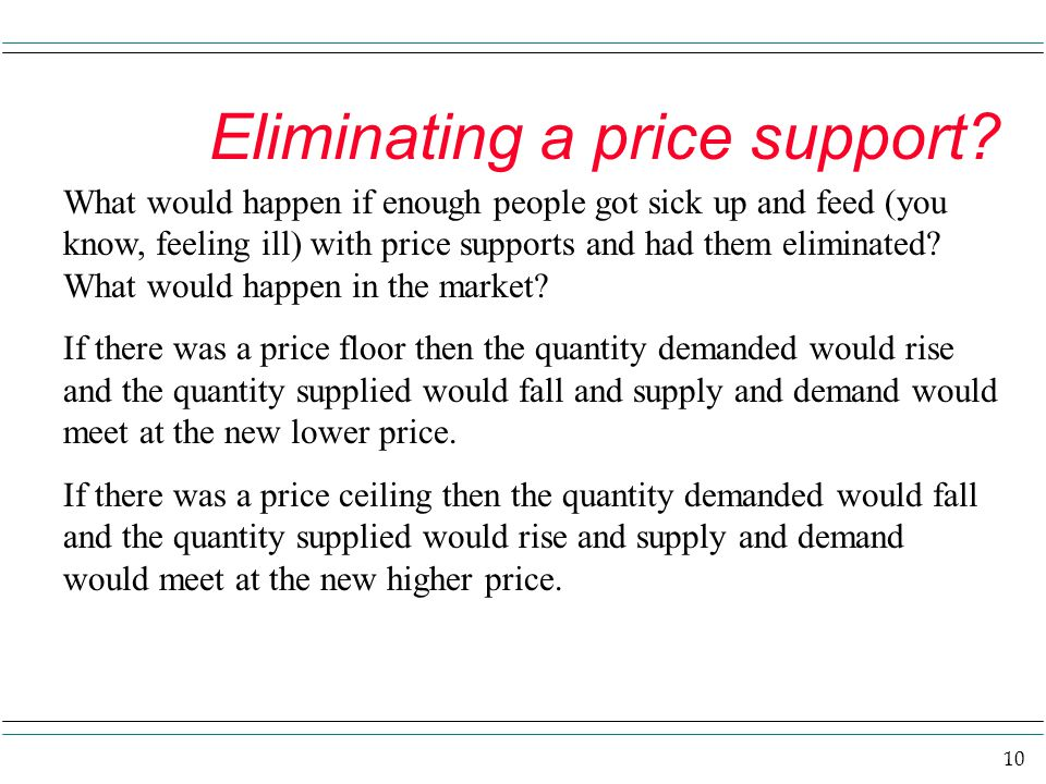 10 Eliminating a price support? What would happen if enough people got sick up and feed (you know, feeling ill) with price supports and had them elimi