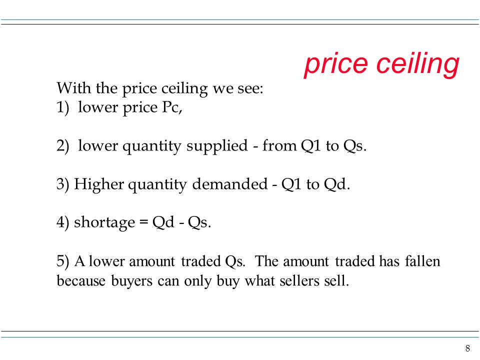 8 price ceiling With the price ceiling we see: 1) lower price Pc, 2) lower quantity supplied - from Q1 to Qs. 3) Higher quantity demanded - Q1 to Qd.