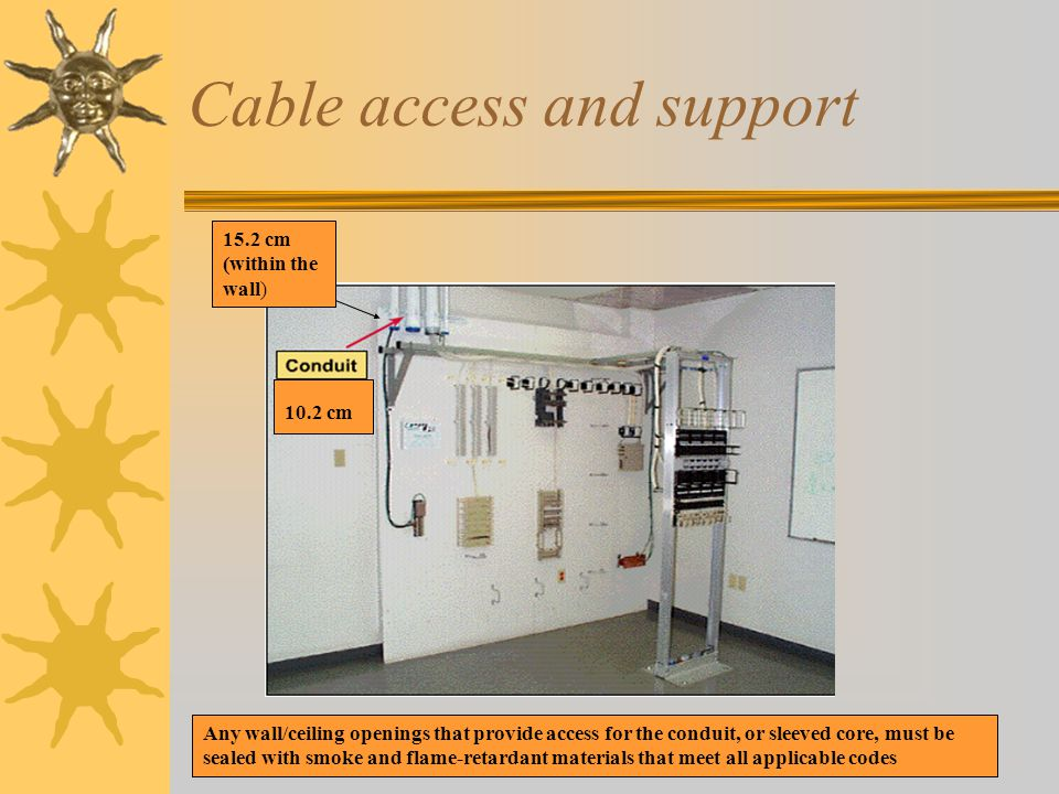 Cable access and support 10.2 cm 15.2 cm (within the wall) Any wall/ceiling openings that provide access for the conduit, or sleeved core, must be sealed with smoke and flame-retardant materials that meet all applicable codes