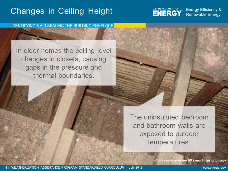 41 | WEATHERIZATION ASSISTANCE PROGRAM STANDARDIZED CURRICULUM – July 2012eere.energy.gov Changes in Ceiling Height In older homes the ceiling level changes in closets, causing gaps in the pressure and thermal boundaries.
