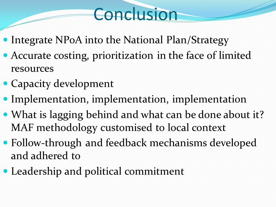 Conclusion Integrate NPoA into the National Plan/Strategy Accurate costing, prioritization in the face of limited resources Capacity development Imple