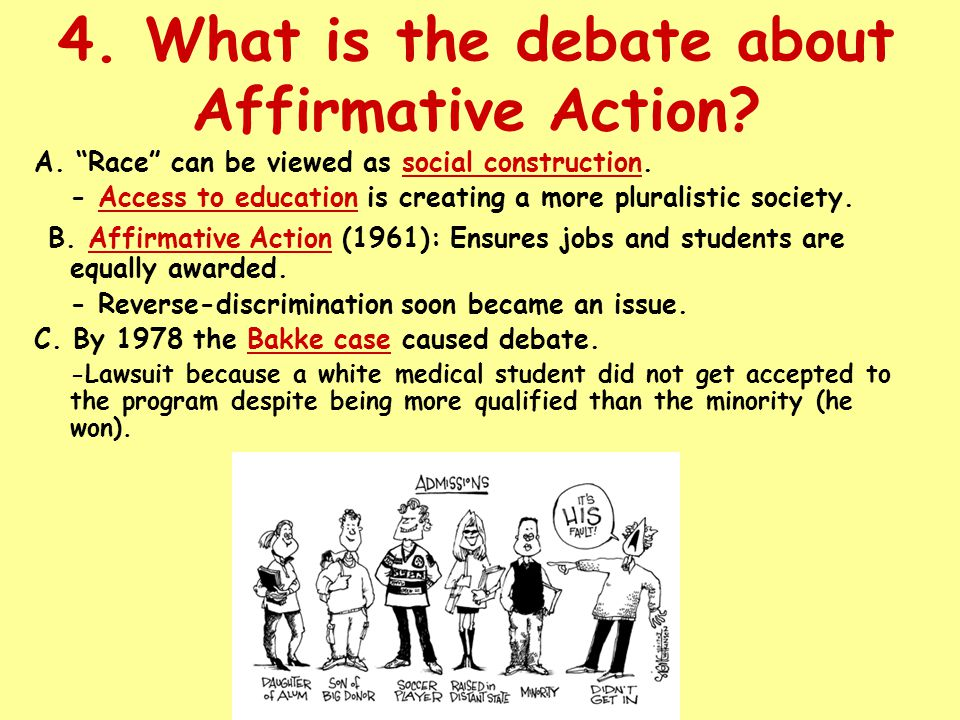 4. What is the debate about Affirmative Action. A.