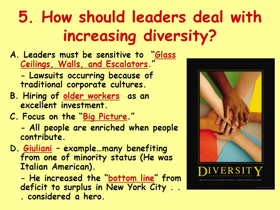 5. How should leaders deal with increasing diversity.