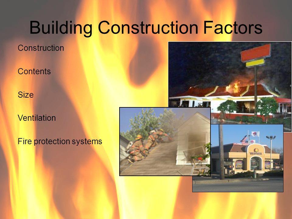 Building Construction Factors Construction Contents Size Ventilation Fire protection systems