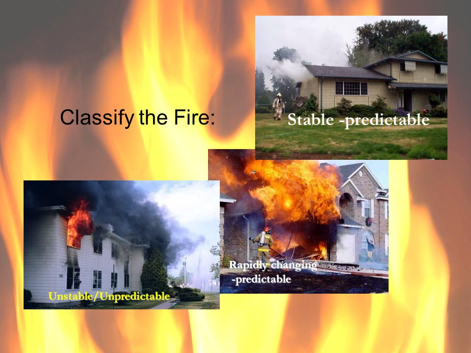 Classify the Fire: Stable -predictable Rapidly changing -predictable -predictable Unstable/Unpredictable
