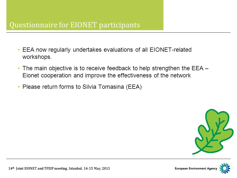 14 th Joint EIONET and TFEIP meeting, Istanbul, 14-15 May, 2013 Questionnaire for EIONET participants EEA now regularly undertakes evaluations of all EIONET-related workshops.