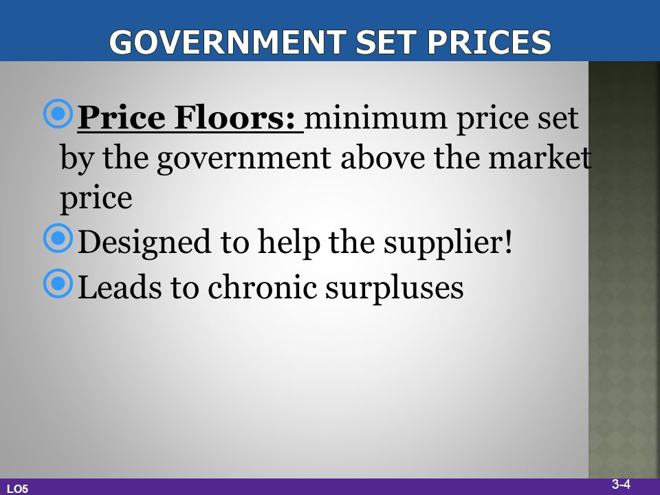 Price Floors: minimum price set by the government above the market price Designed to help the supplier! Leads to chronic surpluses LO5 3-4