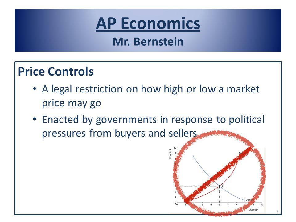 AP Economics Mr. Bernstein Defining Deadweight Loss: Price Ceilings 13
