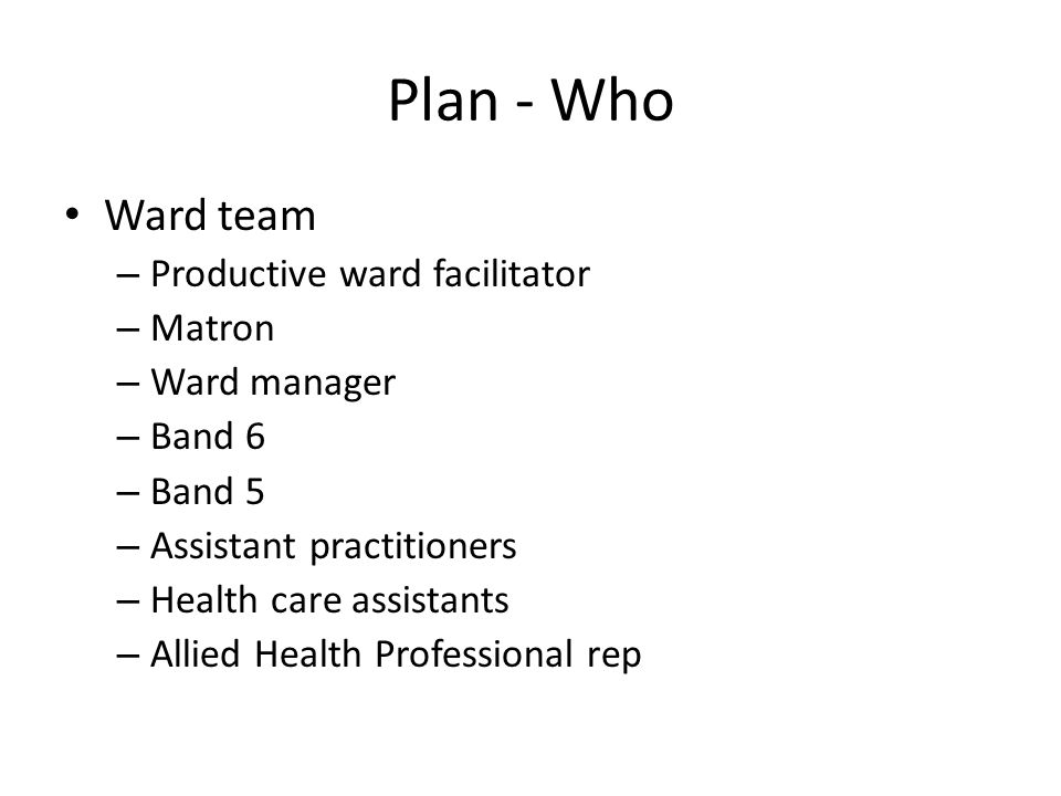 Plan - What 3 x ½ day facilitated sessions – Session 1 SE documentation, driver diagram Baseline data - safety thermometer, incident reporting – Session 2 How staff felt about the ward, ward organisation Current ward processes, structure of a day on the ward, system of intentional rounding – Session 3 Implementation of drivers through intentional rounding, rounding log Communication, leadership