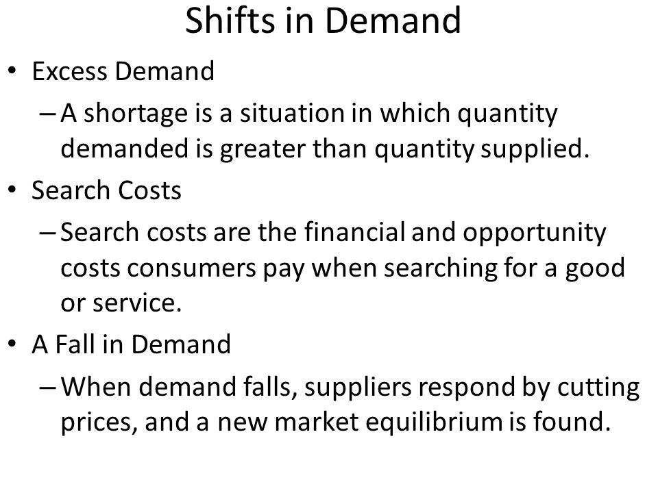 Shifts in Demand Excess Demand – A shortage is a situation in which quantity demanded is greater than quantity supplied. Search Costs – Search costs a