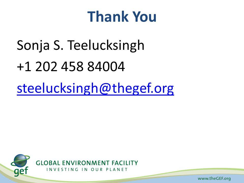 Thank You Sonja S. Teelucksingh +1 202 458 84004 steelucksingh@thegef.org