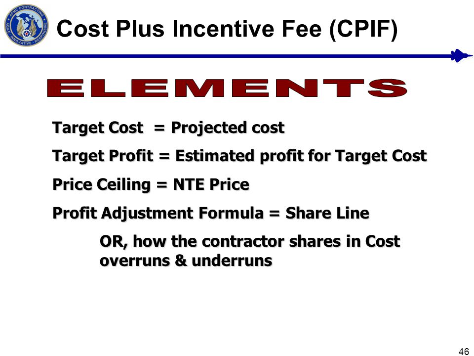 46 Cost Plus Incentive Fee (CPIF) Target Cost = Projected cost Target Profit = Estimated profit for Target Cost Price Ceiling = NTE Price Profit Adjus